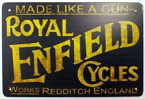 Royal Enfield Cycles Bike Garage Workshop Metal Wall Sign Door 30 x 20 cm