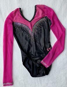 GK ELITE Leotard Gymnastics RHINESTONE Bling COMPETITION Swarovski PINK Size: AM