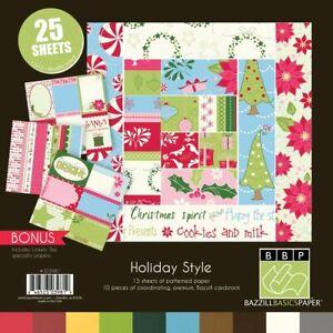 Bazzill Basics 8x8 Christmas Holiday Style 15 Sheets Paper, 10 Sheets Cardstock