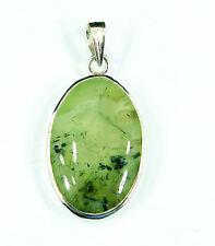 925 Solid Sterling Fine Silver Handmade Green Prehnite Gemstone Pendant- 1006