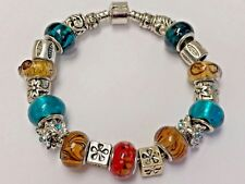European Style Charm Bracelet with Murano Glass Beads,Snap Clasp Closure, 7.9""