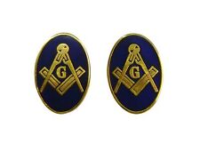 Freemasons Masonic Cuff Links Blue and Gold Square & Compass Oval CL-04
