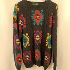 Oversized Sweater Women XL Floral Aztec Pullover Knit Tunic Black Multicolor