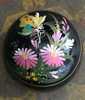 Vintage Trinket Box Black Lacquer Jewellery Floral Butterfly Paper Mache Retro