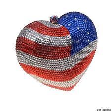 WOMEN'S EVENING BAG American Crystal Embellished Heart Clutch #561620-030