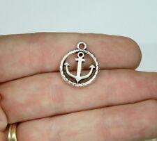 10 Anchor Charms Tibetan Antique Silver Tone 19 x 16 mm Round US Seller 354