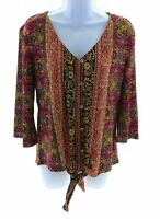 Stitch Collection Multi Color Paisley V Neck 3/4 Bell Sleeve Top Casual