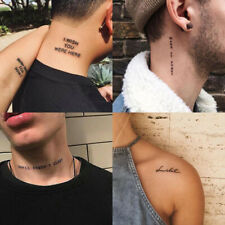 56Sheet Temporary Tattoo Sticker Black Devil Doesn't Sleep English Letters TFCA