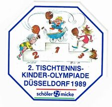 Aufkleber 2. Tischtennis-Kinder-Olympiade Düsseldorf 1989