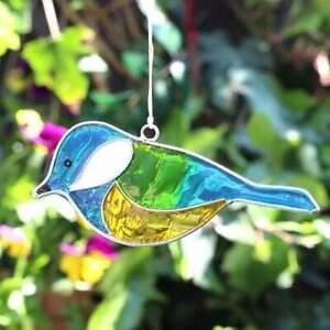 Beautiful Colourful Garden Window BLUE TIT Bird Suncatcher Ornament NEW