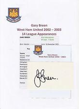GARY BREEN WEST HAM UNITED 2002-2003 ORIGINAL HAND SIGNED CUTTING/CARD