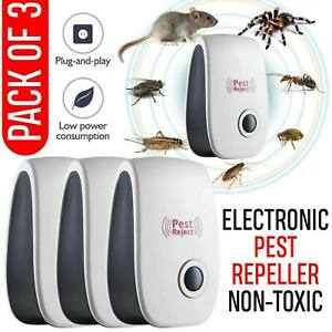 3x Whole House Electronic Rat Mouse Mice Spider Deterrent Reject Pest Repeller