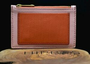 Fossil Womens Leather Shelby Zip Coin Wallet Purse Cherry Blossom