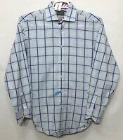 Mens Thomas Dean Small S/P Blue Plaid Long Sleeve Button Front Dress Shirt