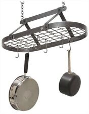 """ENCLUME Decor Classic Oval-Shape CEILING POT RACK HAMMERED STEEL 29"""" x 14"""" x 22"""""""