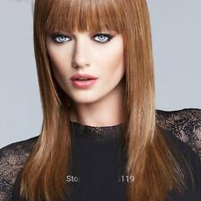 LMSW150 long brown mix straight fashion hair wigs women hair wig
