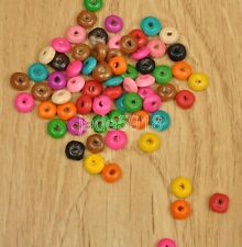 400pcs Mixed Colour Wooden FLAT ROUND SAUCER Beads ~ 8mm ~ FREE POST