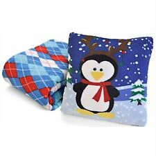 """Christmas Micro Plush Penguin Reindeer Pillow 13"""" + Argyle Throw Blanket 50x60"""""""