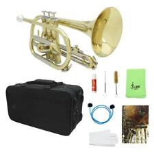 Gold Brass Trumpet Cornet Musical Instrument with Cloth Case Gloves Brushes