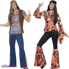 Adult Mens Womens Hippie Outfit Retro 60s 1960s 70s Hippy Fancy Dress Costume