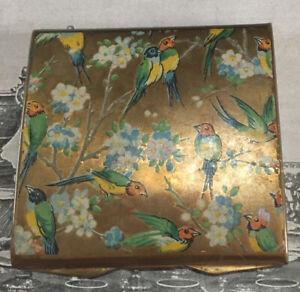 Stunning Love Bird Parrot Antique Powder Compact RARE Beautiful Colours Vintage!