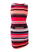 Tommy Hilfiger Women's Striped Sheath Dress (14, Pink Multi)