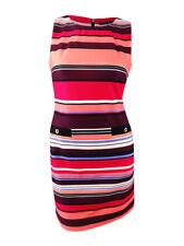 Tommy Hilfiger Women's Striped Sheath Dress (14, Pink Multi)