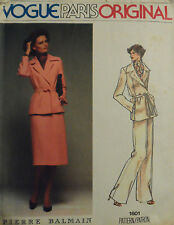 Vtg 70s Vogue Paris Original 1601 Pierre Balmain Jacket Pants Skirt Bust 32  S10