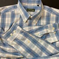 Orvis Mens Long Sleeve Cotton White Blue Plaid Button Down Shirt Size Large