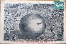Hot Air Balloon 1913 French Aviation Postcard: Premier Ballon, Gonesse, France