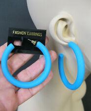 Retro Hoop Pierced Earrings 70's 80's Vtg New Large Blue Satin Finish Acrylic