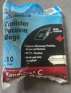 10 Pack Replacement Canister Vacuum Bags Fits 5055 Panasonic C-5 & Kenmore C