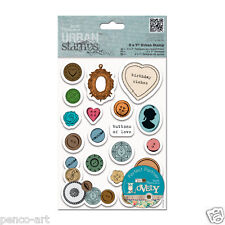 Docrafts papermania sew lovely mixed buttons urban rubber stamp set of 19