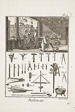 3 planches gravées ENCYCLOPEDIE V. 1780 Atelier Balances Balancier Poids