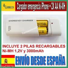 CARGADOR EMERGENCIA USB iPhone iPod Mp3 Mp4 Móvil + 2 pilas recargables AA Ni-MH