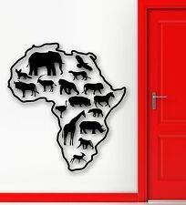 Wall Stickers Vinyl Decal Africa Animals Lion Giraffe Savannah Map Decor (ig848)