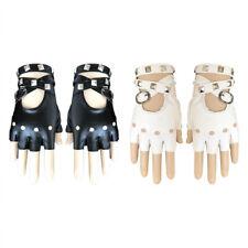 Womens Punk Rock Fingerless Gloves with Black Metal Studded Leather Bracelet UK