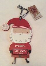 Santa - Naughty/Nice Christmas Decoration - Hanging - Wooden - Brand New