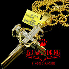 Mens Real Genuine Diamond 10K Yellow Gold Finish Jesus Cross Pendant Charm .33Ct