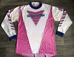 Vintage Hallman Racing Motocross Jersey Shirt 80s Pink Size Large
