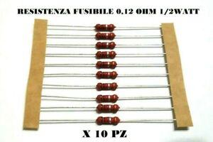 PZ 10 Resistenza fusibile R12 0.12R 0R12 Ohm 1/2W 1/2Watt A FILO ASSIALE ROYAL