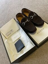 Men's Gucci Loafers Shoes Brown Suede UK9