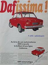 PUBLICITE DAF AUTOMATIQUE DAFISSIMA VOITURE 4 CV DE 1967 FRENCH AD PUB VINTAGE