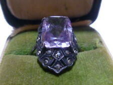 ART NOUVEAU DECO AMETHYST GLASS CRYSTAL STERLING SILVER MARCASITE RING BAND