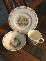 Royal Doulton Bunnykins Fine China 3-Pc Children's Set-- Plate, Bowl and Cup
