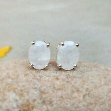 X 6 mm Gemstone Stud Earrings Natural White Moonstone 925 Sterling Silver 8