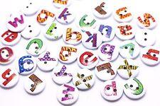 Alphabet Wood Button White Letters Decorative Children Wooden DIY 15mm 20pcs