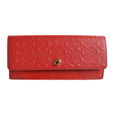 NEW Coach Embossed Logo Leather Soft Wallet 52366 Red