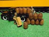 """O SCALE"" WHISKEY BARRELS /WINE BARRELS DIORAMA MODEL TRAIN SET of 16 barrels"