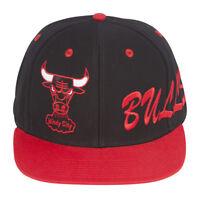 Chicago Bulls Side Logo Black/Red Snapback Adjustable Plastic Cap